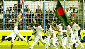 Bangladesh celebrate their first Test win