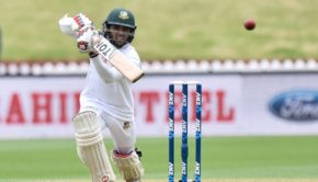 Bangladesh's Mominul Haque plays a shot