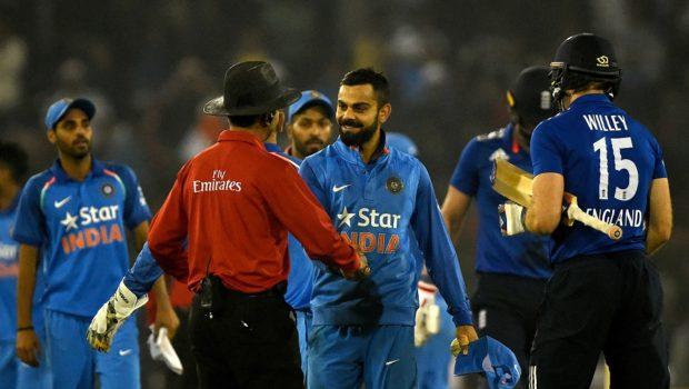 Virat Kohli handshakes umpire during India v England ODI