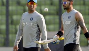 Dhoni and Kohli practicing