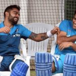 Kohli and Dhoni having fun during practice