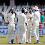 Umesh Yadav celebrates the wicket of Mominul haue