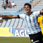 Argentina's Giovanni Simeone celebrates after scoring against Peru during their soccer match for the South American Under-20 Championship in Montevideo