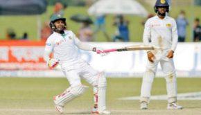 Bangladesh captain Mushfiqur Rahim and teammates celebrate their victory over Sri Lanka