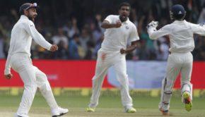 Ravi Ashwin celebrating