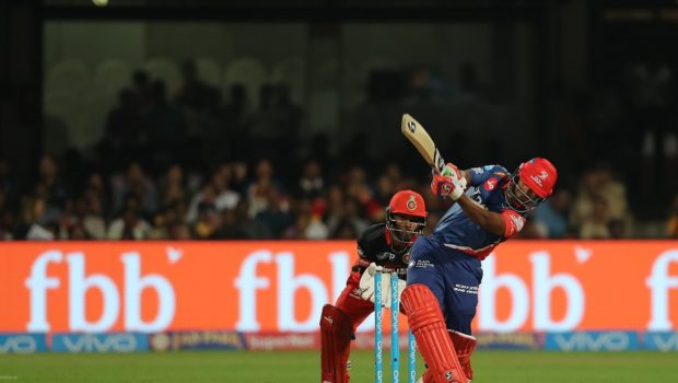 Rishabh Pant of the Delhi Daredevils hits over the top for six