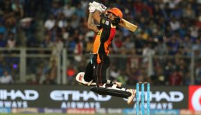 Shikhar Dhawan of the Sunrisers Hyderabad plays a shot during match 10 of the Vivo 2017 Indian Premier League