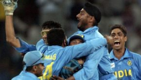 Indian players celebrate the victory during the ICC Champions Trophy semi-final