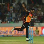 Bhuvneshwar Kumar of the Sunrisers Hyderabad during match 6 of the Vivo 2017 Indian Premier League