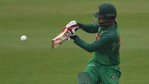 Dublin , Ireland - 12 May 2017; Tamim Iqbal of Bangladesh plays a shot for one run off Kevin O'Brien of Ireland