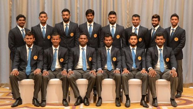 Members of the Sri Lankan cricket team pose for a group photograph