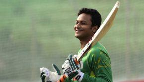 Bangladesh cricketer Shakib Al Hasan takes part in a team training session at the Sheikh Abu Naser Stadium in Khulna