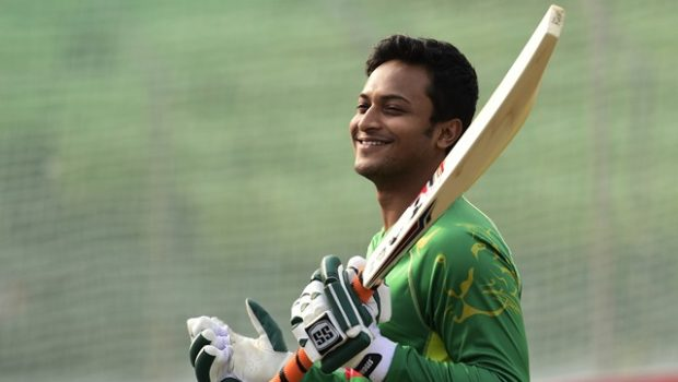 Bangladesh cricketer Shakib Al Hasan takes part in a team training session at the Sheikh Abu Naser Stadium in Khulna
