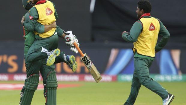 Bangladesh's Mahmudullah celebrates reaching 100 during the ICC Champions Trophy
