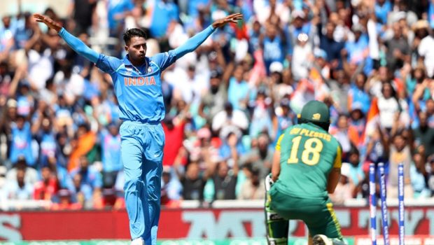 India's Harder Panda celebrates taking the wicket of South Africa's Francois Duplessis during the ICC Champions Trophy