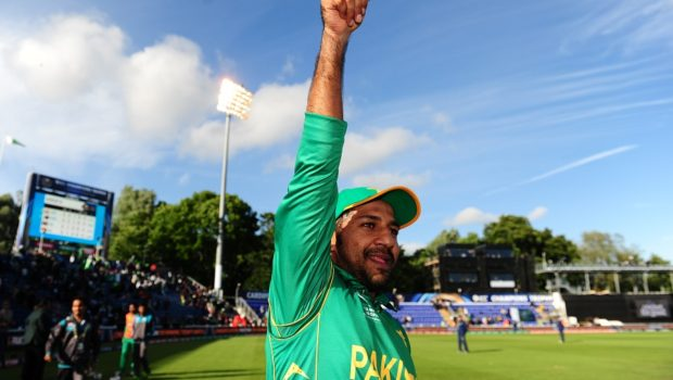 Sarfraz Ahmed of Pakistan celebrates victory during the ICC Champions Trophy match between Sri Lanka and Pakistan