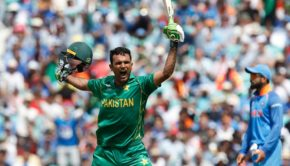 Pakistan's Fakhar Zaman celebrates reaching his 100 during the ICC Champions Trophy final