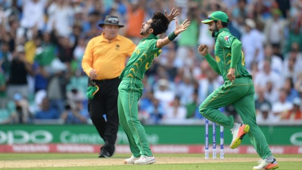 Hasan Ali of Pakistan celebrates after dismissing MS Dhoni of India during the ICC Champions Trophy final