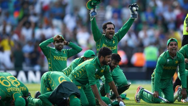 Pakistan captain Sarfraz Ahmed celebrates with a prayer after winning the ICC Champions Trophy Final