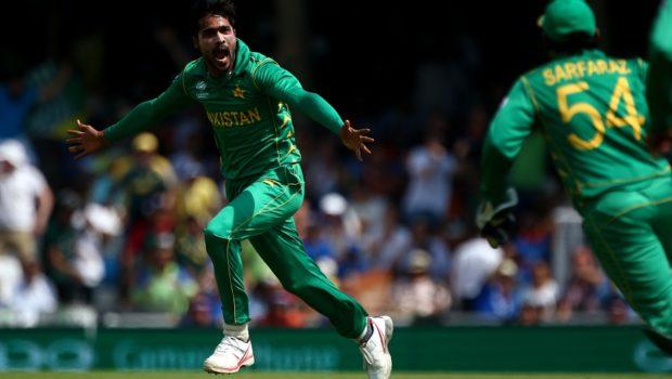 Mohammad Amir of Pakistan celebrates
