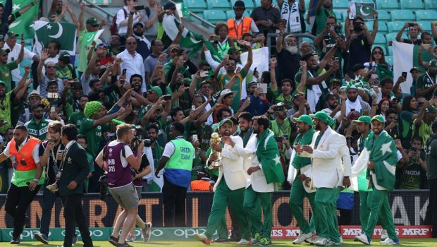 Pakistan parade the trophy in front of fans after winning the ICC Champions Trophy final