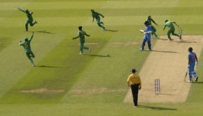 Pakistan celebrate after the final India wicket as the wond the ICC Champions Trophy final