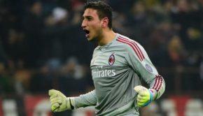 AC Milan's Italian goalkeeper Gianluigi Donnarumma celebrates