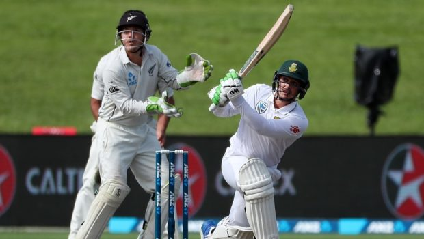 Quinton de Kock of South Africa takes a shot on the day two of the third Test cricket match between New Zealand and South Africa