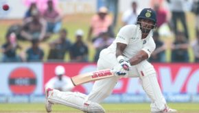 Indian batsman Shikar Dhawan plays a shot during the first day of the first Test