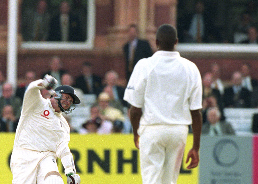 Dominic Cork of England starts to celebrate after England's victory