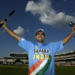 Captain Saurav Ganguly of India with the Trophy during the match between England and India