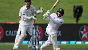 Quinton de Kock of South Africa takes a shot