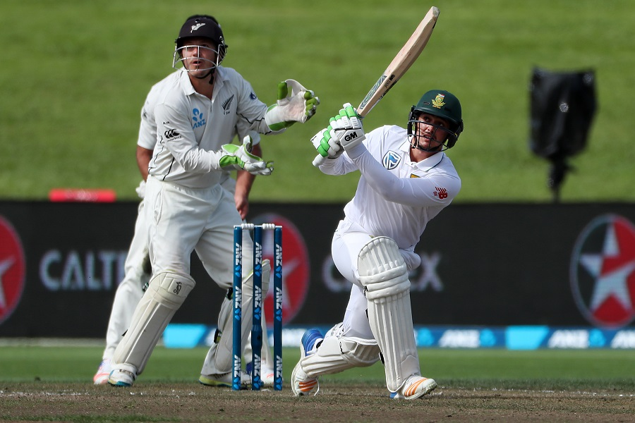 Quinton de Kock of South Africa takes a shot