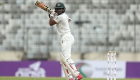 Shakib Al Hasan of Bangladesh bats during day one of the First Test match