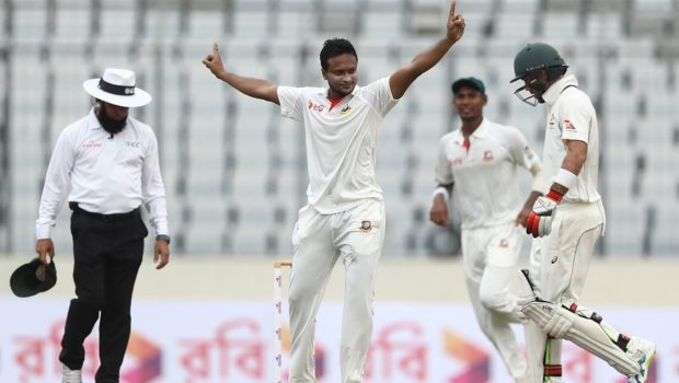 Shakib Al Hasan of Bangladesh celebrates taking the wicket of Matthew Renshaw