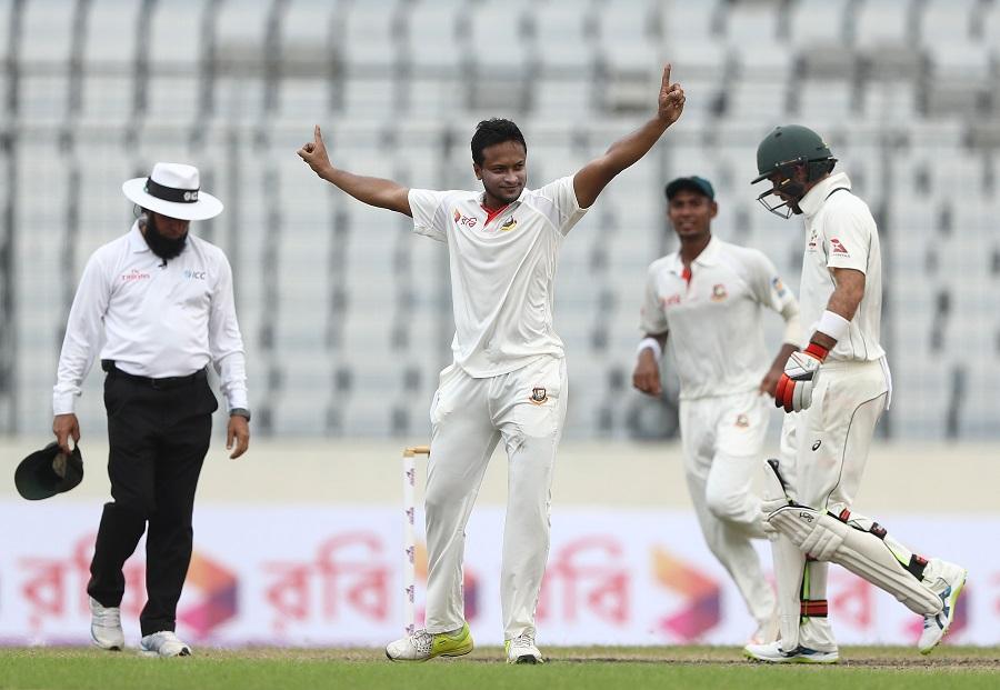 Shakib Al Hasan of Bangladesh celebrates taking the wicket of Matthew Renshaw