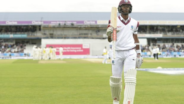 Kraigg Brathwaite of the West Indies leaves the field after being dismissed