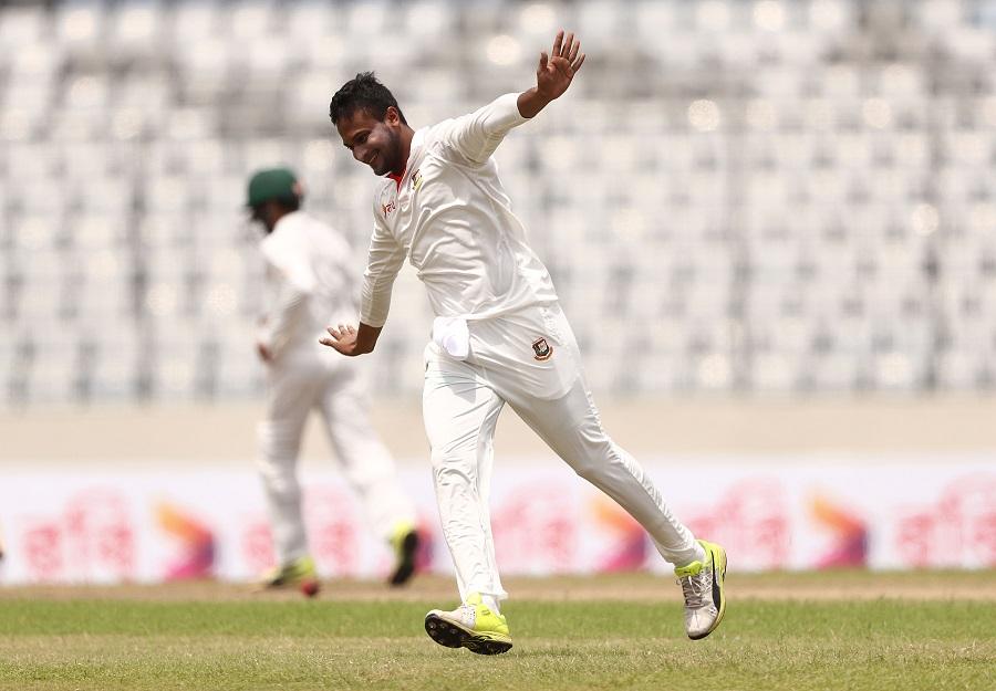 Shakib Al Hasan of Bangladesh celebrates taking the wicket of Glenn Maxwell of Australia