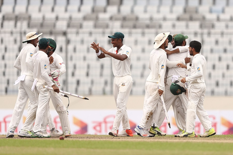 Bangladesh celebrate after they defeated Australia