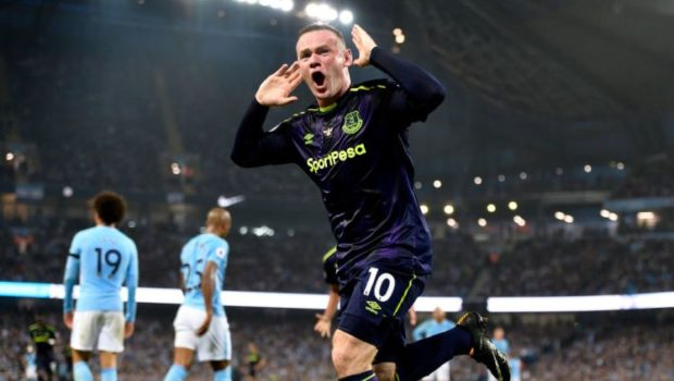 Wayne Rooney celebrates his goal during the Premier League match