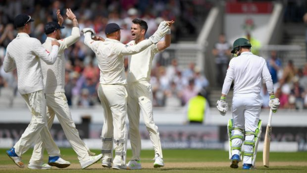 James-Anderson-needed-just-three-balls-to-strike-from-the-newly-named-James-Anderson-End-when-Dean-Elgar-was-lbw-for-a-duck-shortly-before-lunch.