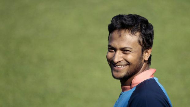 Bangladeshi cricket player Shakib Al Hasan smiles during a practice session