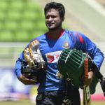 Shakib Al Hasan walks across the field during a practice session