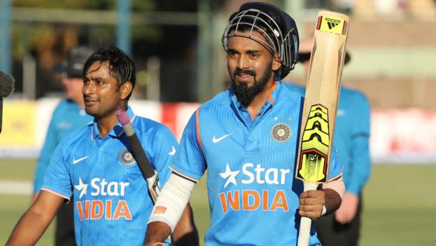 Indian batsman Lokesh Rahul,right, and Ambati Rayudu walk off the pitch