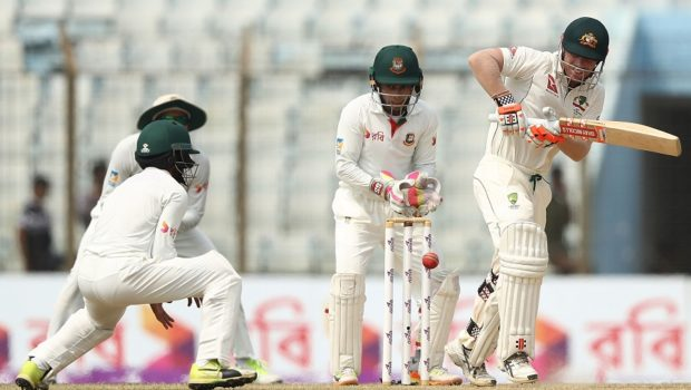 David Warner of Australia bats during day two of the Second Test match