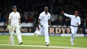 Kemar Roach of the West Indies celebrates dismissing Dawid Malan of England