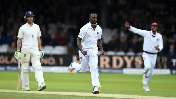 Kemar Roach of the West Indies celebrates dismissing Dawid Malan of England