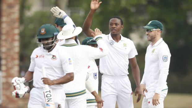 Kagiso Rabada celebrates the dismissal of Bangladesh batsman Imrul Kayes