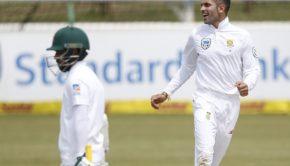 Keshav Maharaj celebrates after his dismissal of Bangladesh batsman Mominul Haque