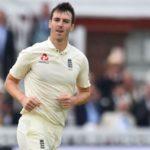 England's Toby Roland-Jones celebrates bowling West Indies' Jermaine Blackwood